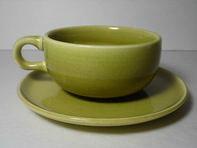 1939 Vintage Old Russel Wright Steubenville Chartreuse Green Cup & Saucer Set
