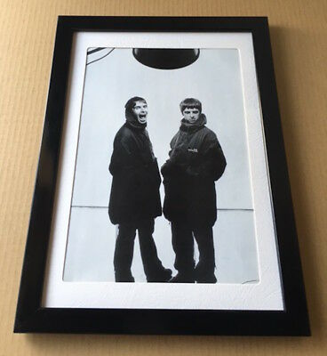 1999 Oasis Liam & Noel vintage JAPAN mag photo pinup / mini poster FRAMED o6r
