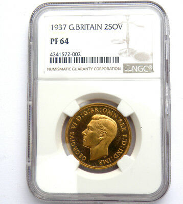 KING GEORGE THE VI 1937 GOLD £2 SOVEREIGN Graded NGC Proof 64