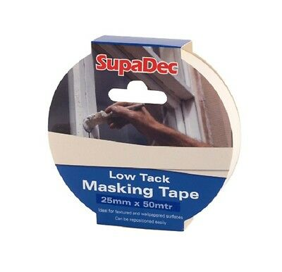 SupaDec DIY Painters Multi-Surface Low Tack Masking Tape Roll - 25mm x 50m