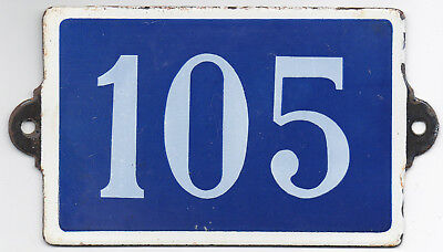 Old blue French house number 105 door gate plate plaque enamel metal sign steel