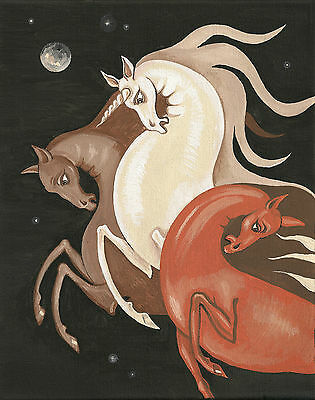 ACEO print of FOLK ART PAINTING RYTA UNICORN HORSES SPIRIT FARM COUNTRY DECOR