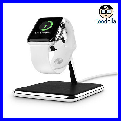 TWELVE SOUTH Forté luxury stand & charging dock, chrome and leather, Apple Watch
