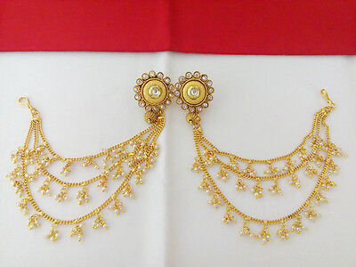 Indian Jewelry Hair Chain With Earring Bollywood Ethnic Gold Plated Traditional