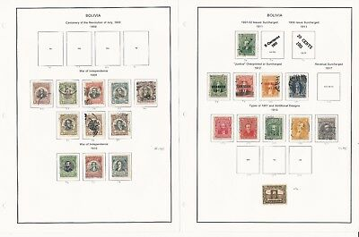 Bolivia Collection 1909 to 1940 on 18 Album Pages, Fine Lot of Stamps