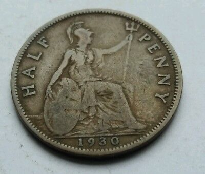 1930 George V Half-Penny Coin