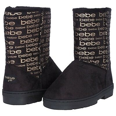 'Bebe Toddler Girls Winter Boots with Metallic Bebe Logo, Black/Gold, Size 8'