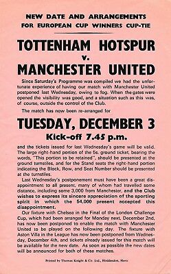 ADVERTISING FLYER for Tottenham v Man Utd (CWC) 1963/4