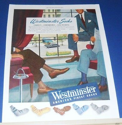1949 Westminster Socks Ad smoking executives office overlooks city street