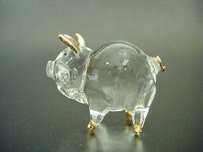 Curio Glass PIG Piglet Piggy Farm Yard Animal Glass Ornament Glass Figure Gift