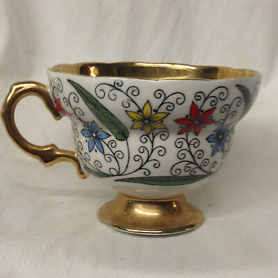 Rosina Queens England 5384 Footed Cup 6 Oz Red Blue & Yellow Flowers Gold Band