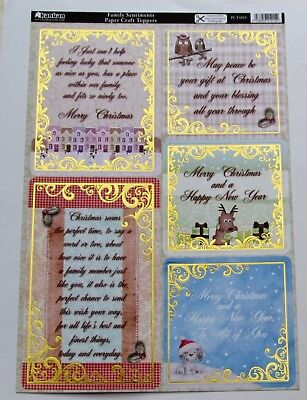 Kanban A4 Sheet Family Sentiments Foiled & Die Cut Christmas Card Toppers