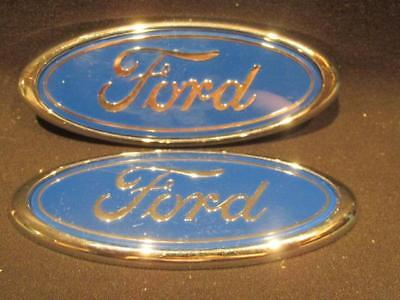 Ford Pair Oval Logo Badges Blue & Silver Original Double Sided Self-Adhesive NOS