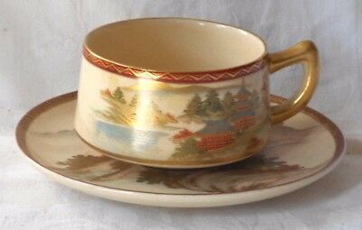 C19Th Japanese Satsuma Hand Painted Cup And Saucer With Country Scenes