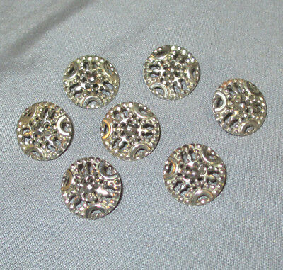 Matching Lot Of 7 Nice Antique Ornate Fancy Victorian Cut Steel Buttons