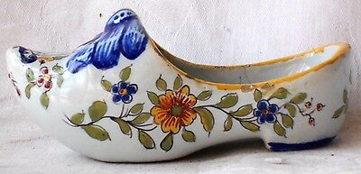 C19Th Desvres French Faience Clog With A Coat Of Arms