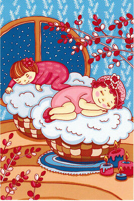 LITTLE LADIES ON FLUFFY PILLOWS Modern Russian postcard