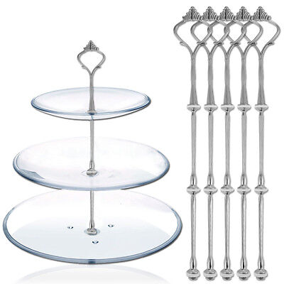 5 sets Silver 3 Tiers Plates Cake Stand Fittings Handle Rod Royal Crown Pattern