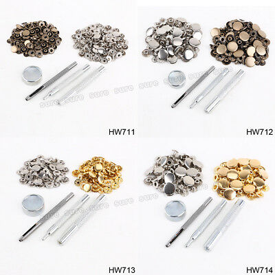 30, 50 Sets Heavy Duty Press Studs Snap Fasteners Poppers W Fixing Tools