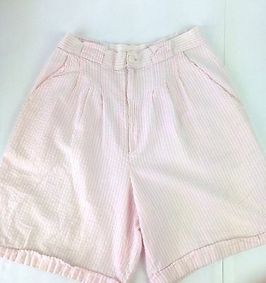 Vtg 80s hight waisted shorts seersucker pleated pastel sz 8 womens B28
