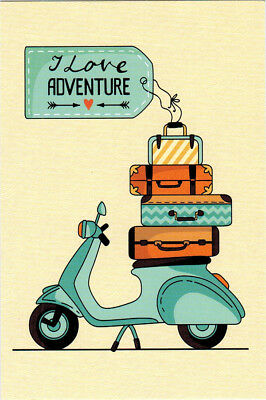 SCOOTER LOADED WITH SUITCASES FOR ADVENTURE LOVER modern Russian postcard