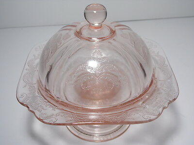 Recollection Pink Depression Indiana Glass Footed Pedestal Covered Candy Dish