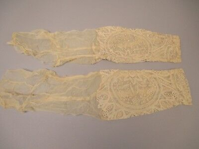 Antique Victorian handmade Tape lace Sleeves Pair