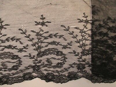 Antique Victorian Silk Chantilly Lace Mourning Veil