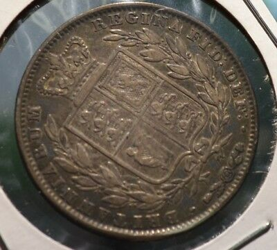 Great Britain England Half Crown 1845 Silver Coin Young Victoria - Cbv4
