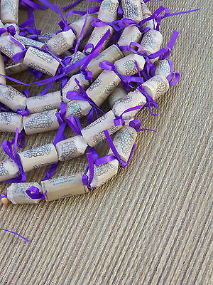 HANDMADE RUSTIC WINE CORK w/ PURPLE BOWS SPARKLE WEDDING GARLAND 12ft OOAK