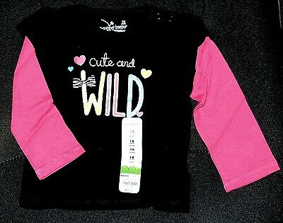 CUTE & WILD baby girl 18 month 18M COTTON Glitter Black Pink Long Sleeve top NWT