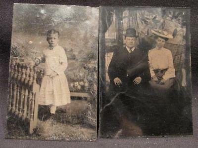 Young Girl in Dress & Couple on Sofa Pair of Vintage Tintype Photos