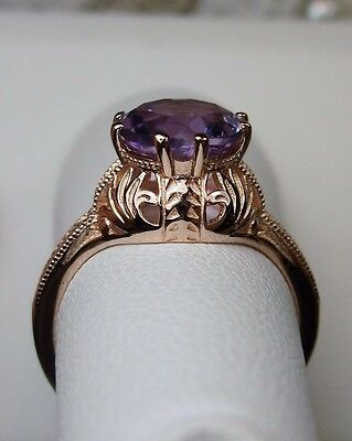 Victorian Natural Amethyst 10k Rose Gold Filigree Ring Size: {Made To Order}