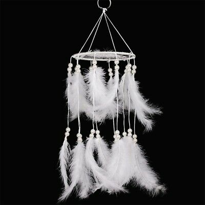 White Handmade Hanging Dream Catcher with Feather Wall Car Decoration Ornament