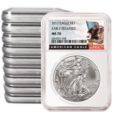 Lot of 10 - 2017 $1 American Silver Eagle NGC MS70 Early Releases Black ER Label
