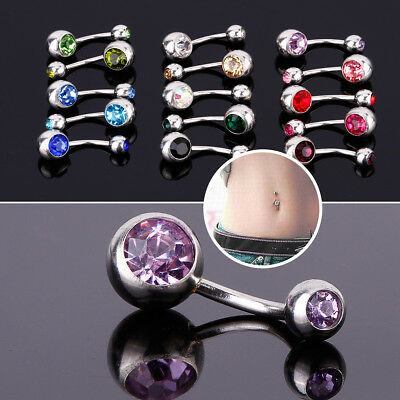 15pcs Double Crystal Belly Bars Gem Ball Nose Navel Rings Piercings Jewellery
