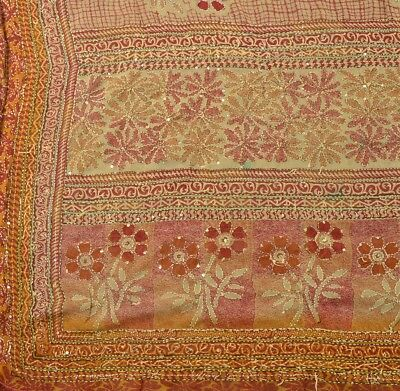 Vintage Indian Art Silk Saree Hand Embroidered Fabric Kantha Floral Sari