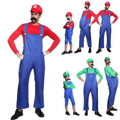 Mens & Kids Super Mario and Luigi Bros Fancy Dress Halloween Costume Plumber