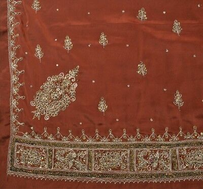 TCW Vintage Indian Art Silk Saree Hand Beaded Brown Fabric Zari Sari