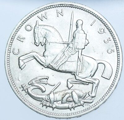1935 Crown, British Silver Coin From George V Unc