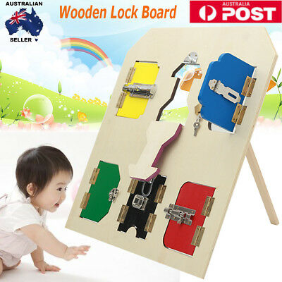 Montessori Practical Life Material - Wooden Latches Board Kids Lock Educational
