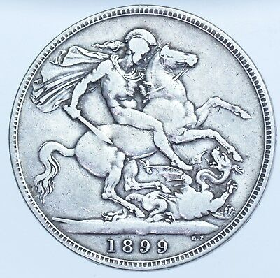 1899 LXIII CROWN, BRITISH SILVER COIN FROM VICTORIA aVF