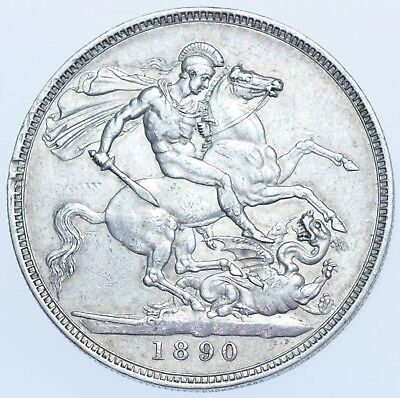 1890 CROWN, BRITISH SILVER COIN FROM VICTORIA aEF
