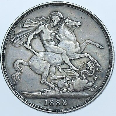 1888 Crown, British Silver Coin From Victoria Vf