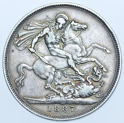 1887 Crown, British Silver Coin From Victoria Gvf