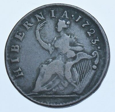 Ireland, George I, Halfpenny, William Wood Issue, 1723 Coin Gf+
