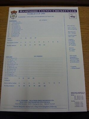 11/05/1999 Cricket Scorecard: Hampshire v England [World Cup 1999] (folded). Tha