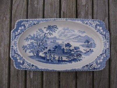 (295) Rare Wood & Sons Antique Victorian Blue Seaforth Pattern Sandwich Tray