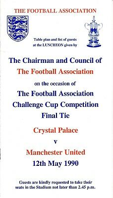 TABLE PLAN & GUEST LIST for the 1990 FA CUP FINAL Crystal Palace v Man United