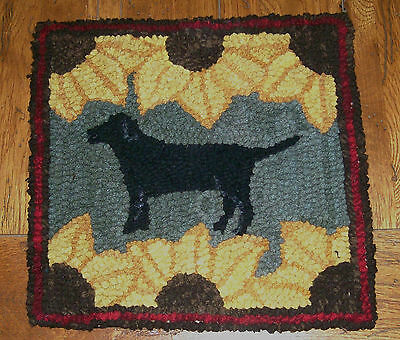 BLACK LAB WITH SUNFLOWERS Primitive Rug Hooking Kit with cut wool strips